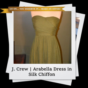 EUC | Olive Green Arabelle Dress in Silk Chiffon